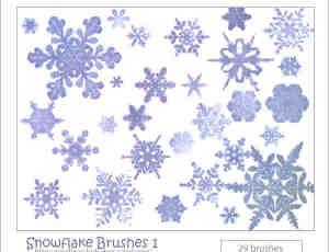 真实冰晶、雪花图案PS笔刷素材下载