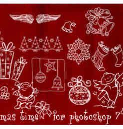 圣诞节手绘卡通涂鸦图案photoshop笔刷素材-海量PS笔刷素材 第 327