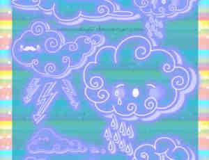 可爱卡通手绘涂鸦云朵、乌云、白云photoshop笔刷素材
