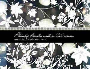 漂亮的枝叶繁华的花纹图案photoshop笔刷素材