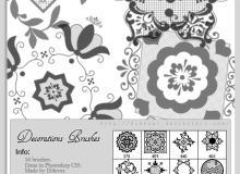 刺绣式花纹图案装饰photoshop笔刷素材