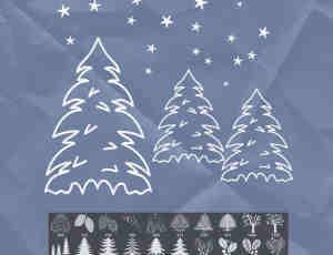 圣诞树、雪人、花环圣诞节装饰图案photoshop笔刷素材