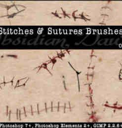 伤口缝合效果、伤痕、伤疤photoshop笔刷素材-人物笔刷 第 15 页
