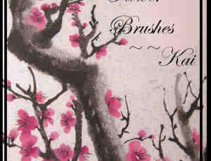 春天的桃花图案素材photoshop笔刷下载