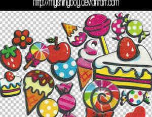 磨砂式水果、糖果、蛋糕等美图秀秀素材下载