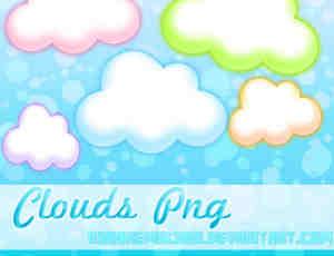 5色可爱的卡通云彩、云朵美图秀秀素材免费下载