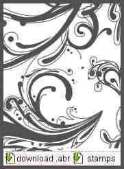 涂鸦式卷曲花纹图案PS笔刷素材下载