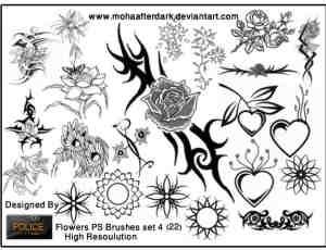 手绘各色玫瑰花、莲花等植物花朵PS笔刷下载
