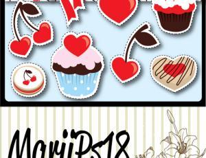 情人节蛋糕、樱桃爱心美图秀秀素材下载