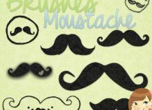 可爱漂亮的卡通胡子照片装饰PS笔刷素材下载