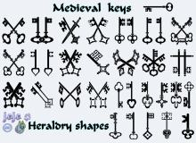 漂亮的古典钥匙图案花纹photoshop自定义形状素材