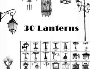 欧式壁灯、街灯、路灯、吊灯装饰photoshop笔刷素材