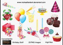 生日装扮、卡通生日蜡烛蛋糕美图秀秀素材下载