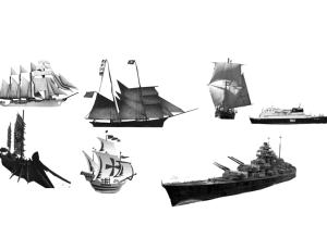 帆船、军舰、游轮、中国古船等photoshop笔刷素材