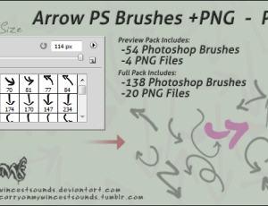 简单的水彩笔涂鸦箭头符号标记photoshop笔刷素材