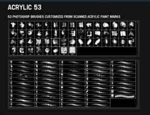 53种不同效果的水墨笔触、痕迹photoshop笔刷素材