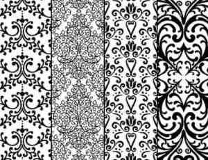 欧美经典的墙壁印花图案、印染花纹、植物花纹PS笔刷素材