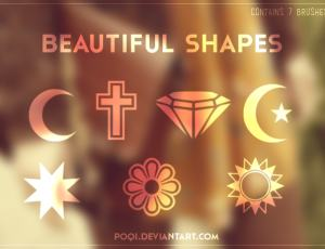 钻石、红新月、十字架、菱形花纹等图案符号photoshop笔刷素材