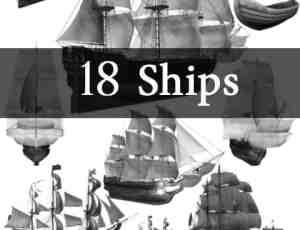 欧洲的帆船模型photoshop素材笔刷