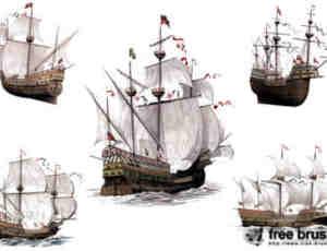 远航帆船模型素材PS笔刷下载