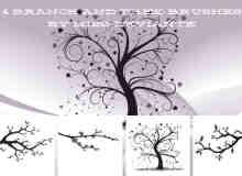 艺术植物树枝、树杈、大树图案photoshop笔刷素材