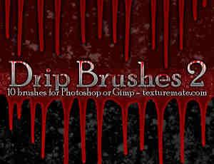 流血痕迹、血流滴落、恐怖血迹photoshop笔刷素材