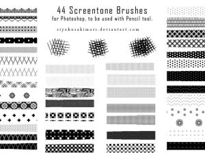 44种像素化式花边条纹photoshop笔刷素材