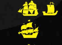 13种小船、帆船版刻图案PS笔刷素材