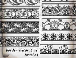 免费的古典艺术花纹边条、花纹边框photoshop笔刷素材