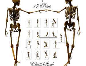 17种各种姿势的骷髅人骨骼造型美图秀秀Png素材下载
