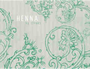 漂亮手绘印染小清新植物花纹图案photoshop笔刷素材