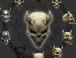 11个来自地狱的恶魔骷髅头美图秀秀素材图片png下载