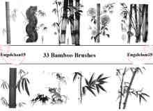33种不同样式的毛竹、竹子photoshop笔刷素材