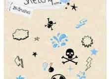 可爱箭头标记、云朵、骷髅头、核辐射标志涂鸦photoshop笔刷