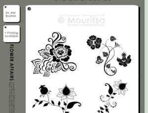 漂亮的富贵花纹、鲜花植物花纹图案、墙壁印花花纹PS笔刷素材