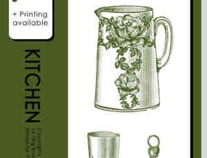 手绘水壶、酒杯、杯子、天平称、盘子photoshop笔刷素材