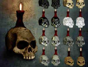 恐怖骷髅头蜡烛台灯美图秀秀png素材包