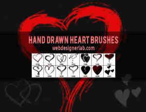 线条描绘涂鸦式爱心、爱情符号photoshop笔刷素材