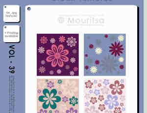 4种卡通小花、花纹图案背景填充底纹PS笔刷素材