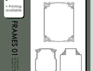 古典式花纹图案边框效果PS笔刷素材