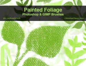 帆布油漆质地的绿叶、树叶photoshop笔刷素材