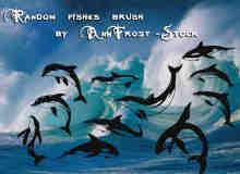 卡通海豚、鲨鱼、鲸鱼图案photoshop笔刷素材下载