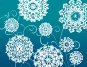 万花筒式对称旋转花纹图案photoshop笔刷素材下载
