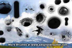 孔洞、弹孔、黑洞photoshop笔刷素材