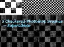 5种不同效果的黑白格子背景图案PS笔刷素材