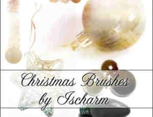圣诞节彩灯装饰photoshop笔刷素材