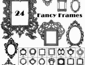 24种欧美风格镜框、相框、画框素材photoshop笔刷下载