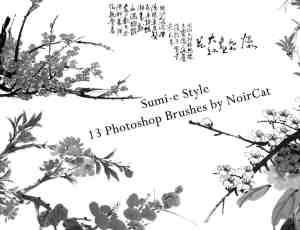 传统水墨画、桃花背景图案素材photoshop笔刷下载
