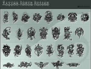 各种袖珍龙形、白虎、骷髅photoshop纹身笔刷素材