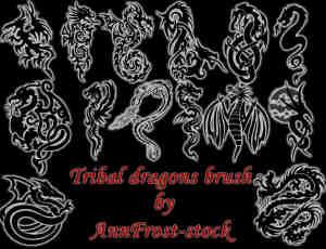 中西方神秘龙图案纹身、龙纹饰PS笔刷素材